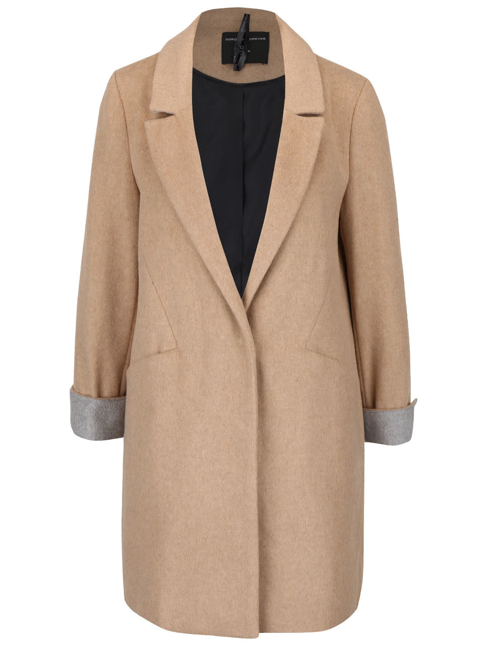 Svetlohnedý kabát s vreckami Dorothy Perkins ... 3d3bed0edcc