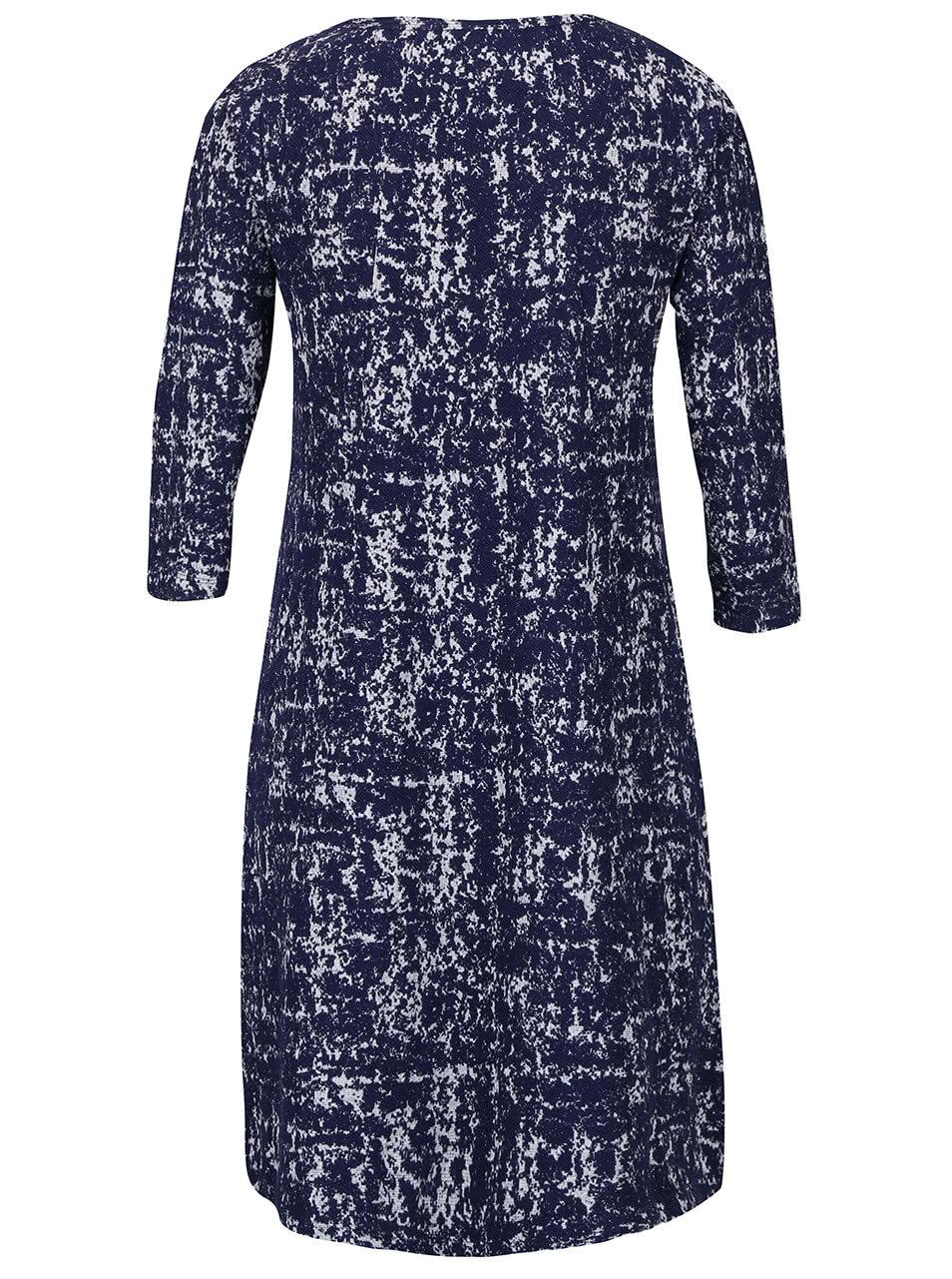 38ba511a09d8 Tmavomodré vzorované strečové šaty s vreckami Fever London Logan ...