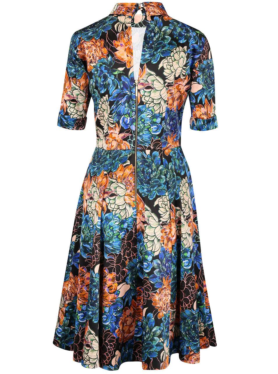Oranžovo-modré kvetinové šaty so stojatým golierom Closet ... f05d2ed9c11