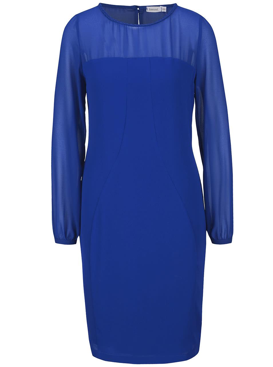 Modré šaty s průhlednými rukávy a dekoltem Lavand ... b612ec7278