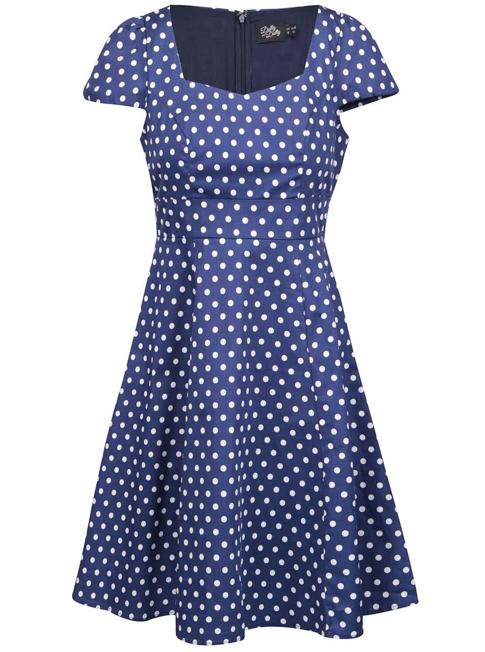6dd1c4a4c7f7 Modré bodkované šaty s krátkym rukávom Dolly   Dotty Claudia ...