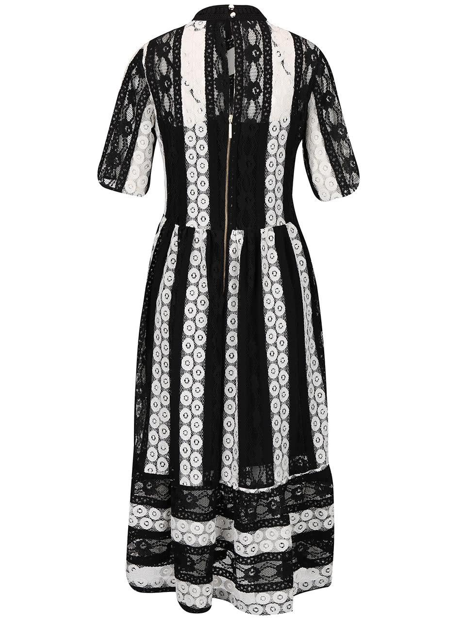 Bielo-čierne čipkované šaty so stojatým golierom Closet ... 2ec169b8fff