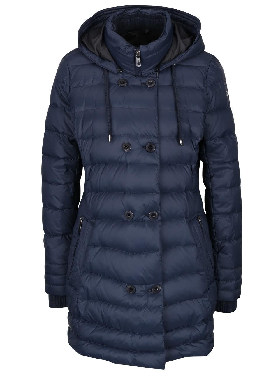 Tmavomodrý dámsky prešívaný kabát bugatti ... 579e155fb0