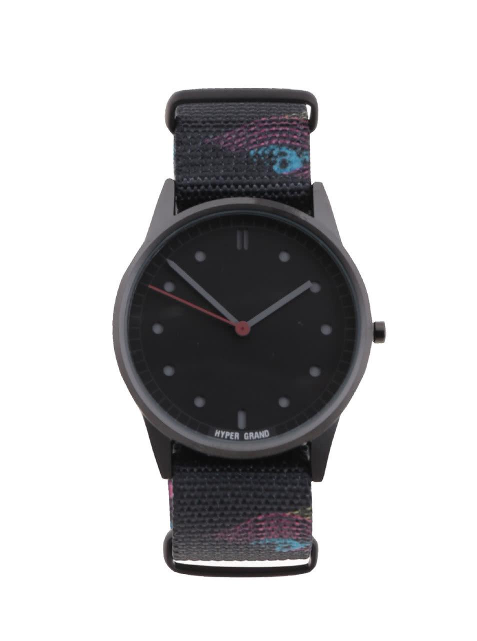 30d6911f3 Čierne pánske hodinky s textilným vzorovaným remienkom HYPERGRAND ...