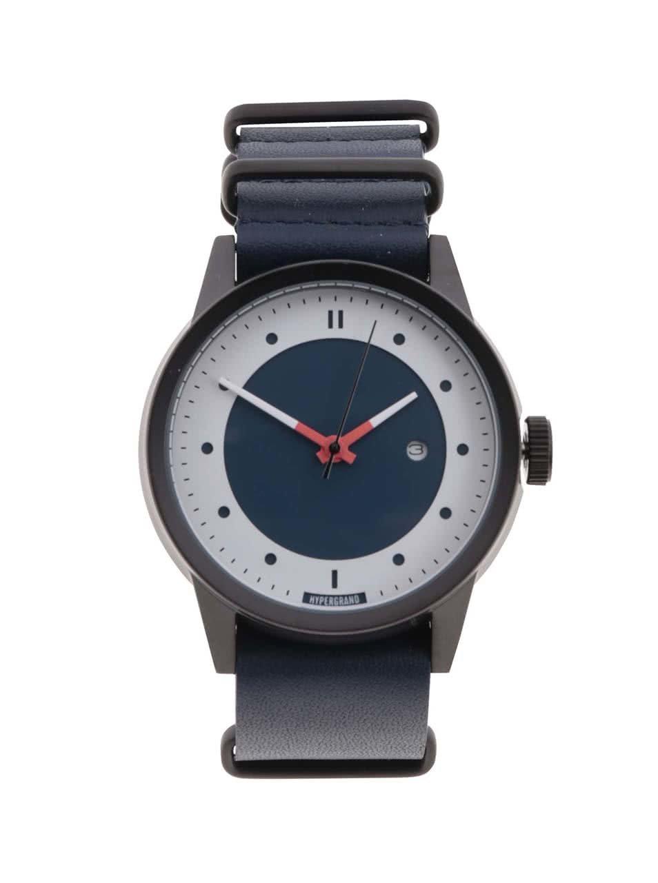 Pánské hodinky s tmavě modrým koženým páskem HYPERGRAND