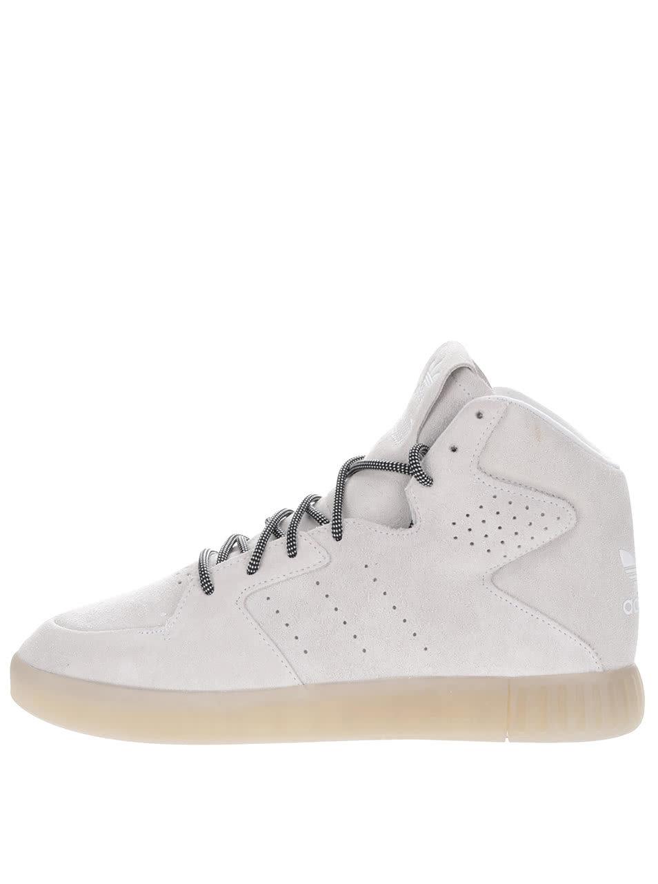 ca384473f84 Krémové pánské kožené kotníkové tenisky adidas Originals Tubular Invader ...