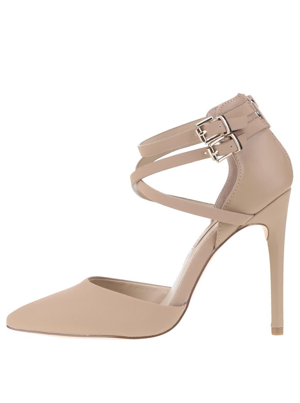 Béžové sandálky s páskem na jehlovém podpatku Miss Selfridge ... 3e21eec753