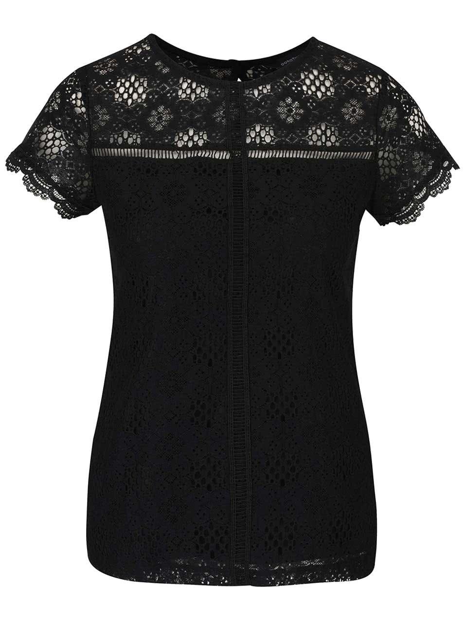 eedbf160ae Černé krajkové tričko Dorothy Perkins ...