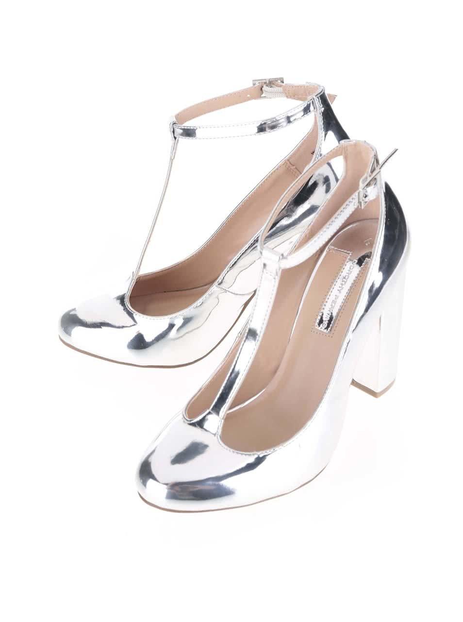 Lodičky na podpatku ve stříbrné barvě Dorothy Perkins ... 59ec03236d