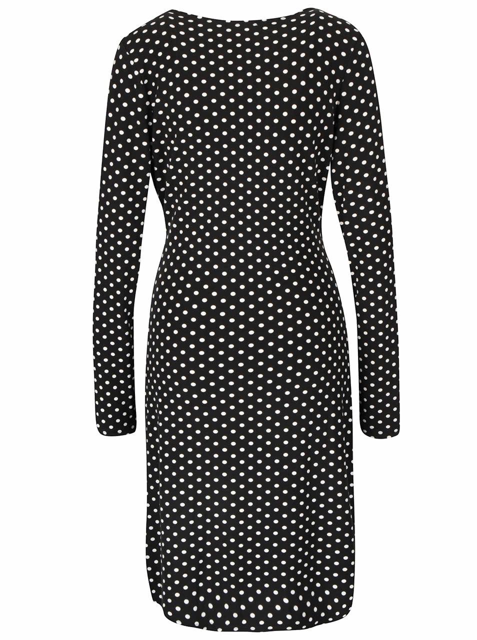 5b6f82c7de17 Čierne bodkované šaty s prekladaným dekoltom Smashed Lemon ...