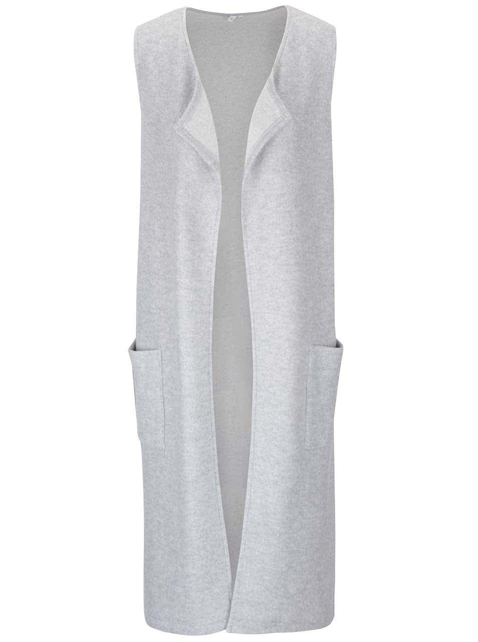 Světle šedá dámská delší vesta s kapsami s.Oliver  427324b2ea