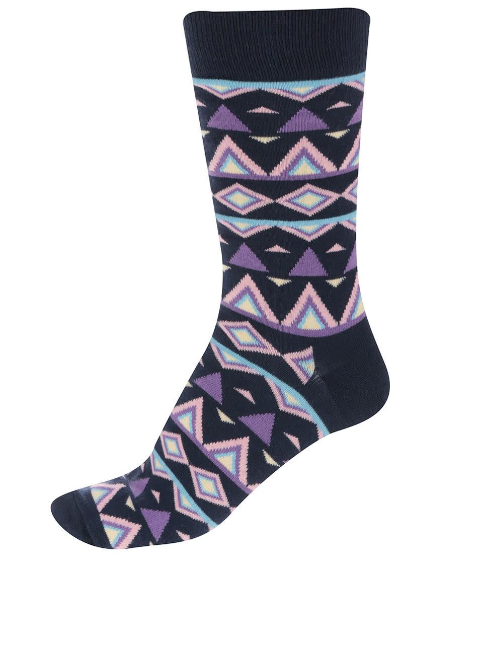 Tmavomodré pánske ponožky so vzorom Happy Socks Temple ... 51d3e3db7d2