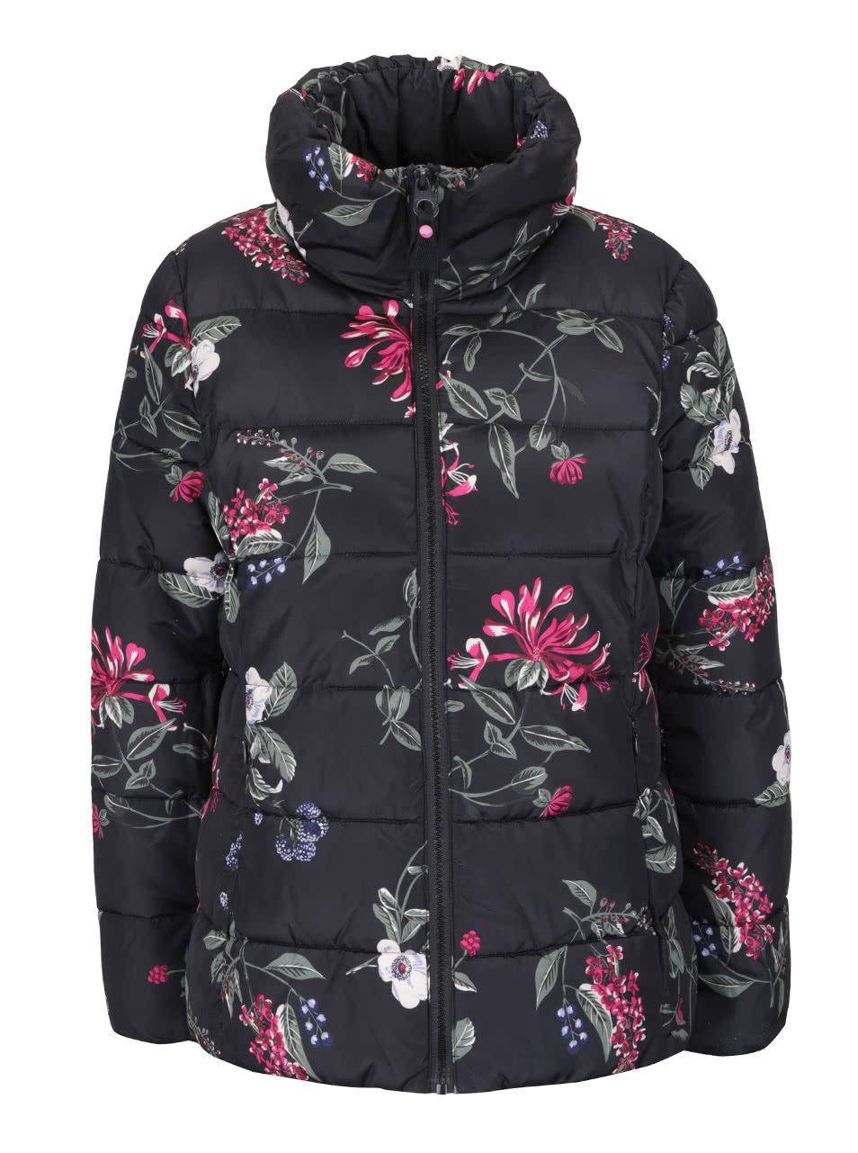 Čierna dámska prešívaná bunda s potlačou kvetov Tom Joule Florian ... 973057f5e38