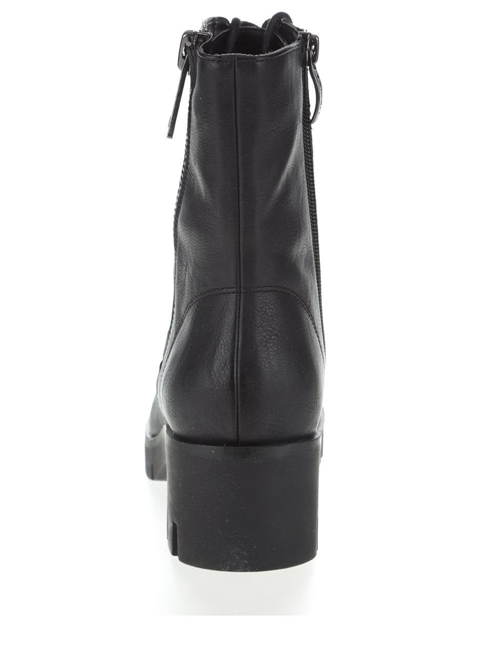 a88dfe567f69 Čierne vyššie členkové topánky na šnurovanie Tamaris ...