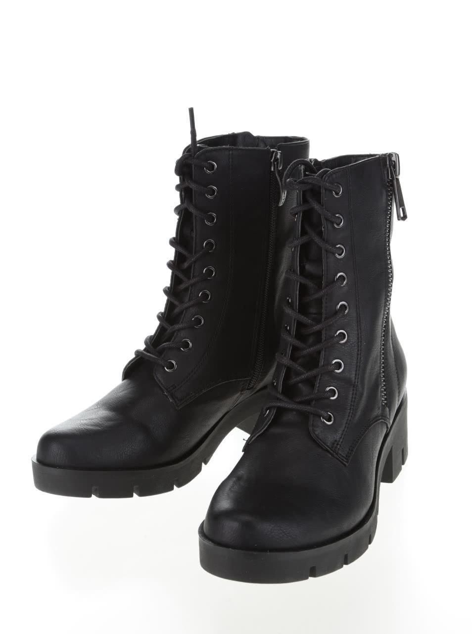 0aa1c1903be91 Čierne vyššie členkové topánky na šnurovanie Tamaris | ZOOT.sk