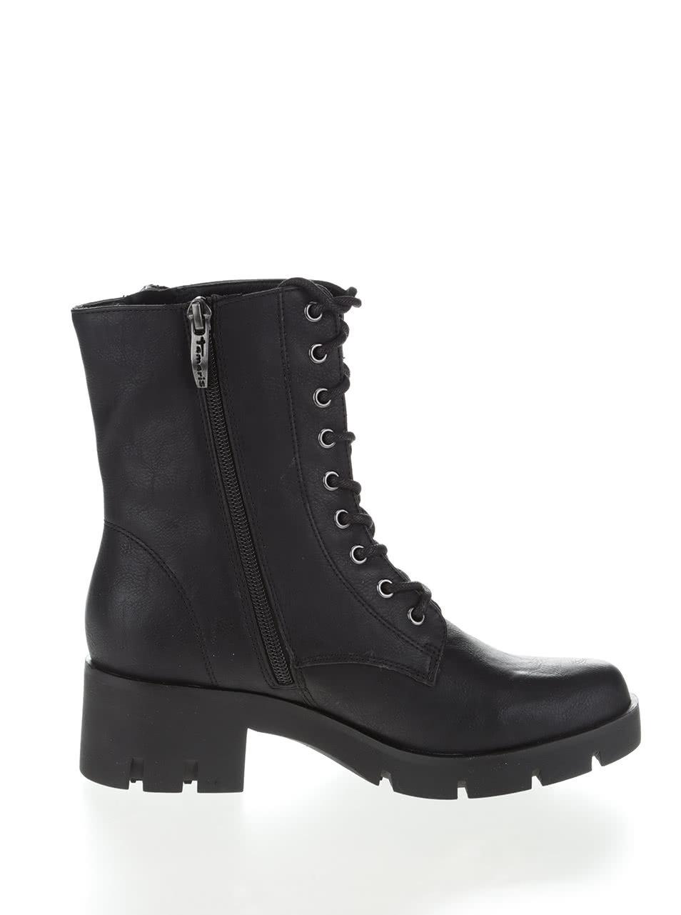 8521b308e0632 Čierne vyššie členkové topánky na šnurovanie Tamaris   ZOOT.sk