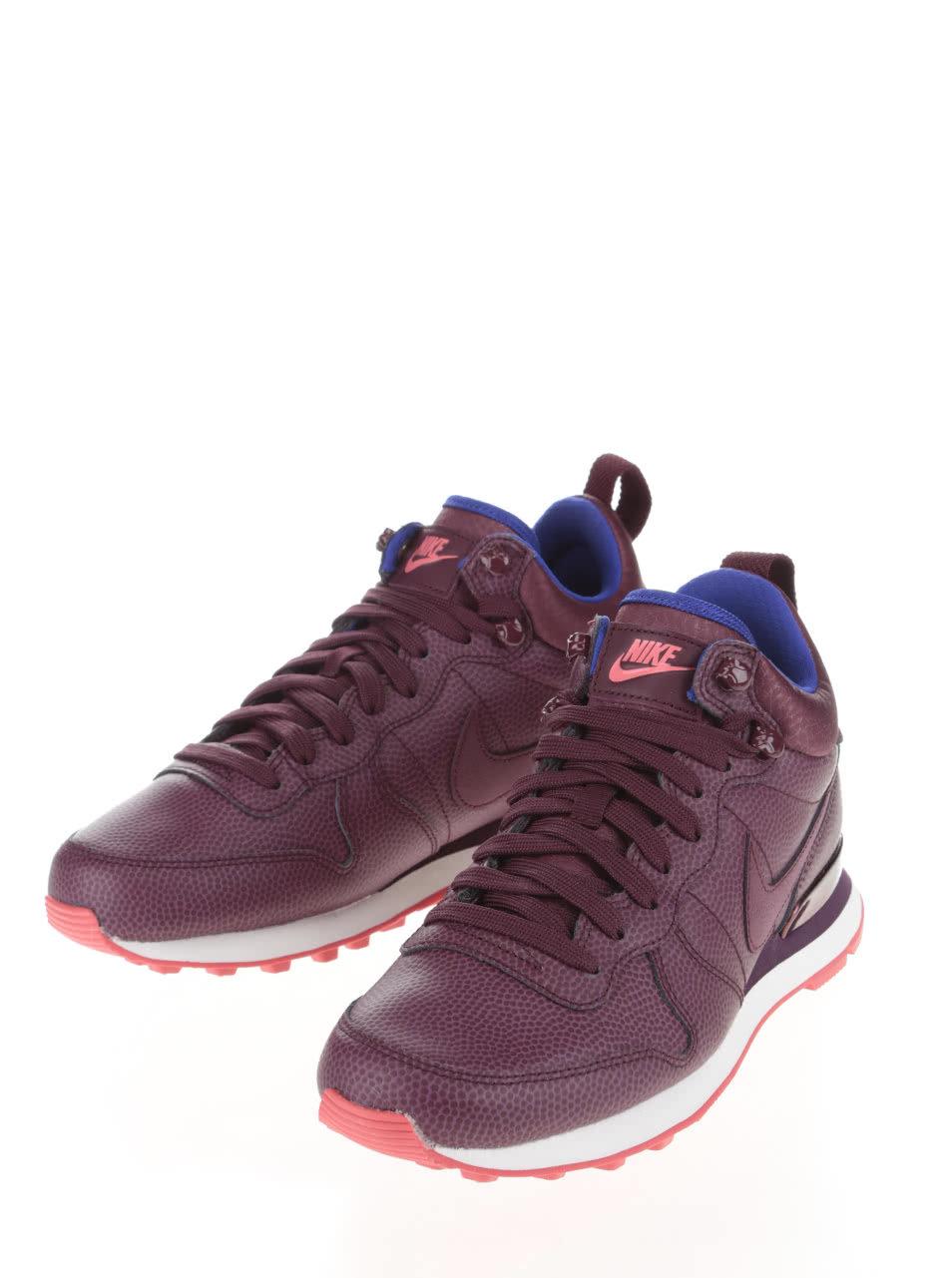 79344fa5e1b Vínové kožené dámské kotníkové tenisky Nike Internationalist Mid Leather ...