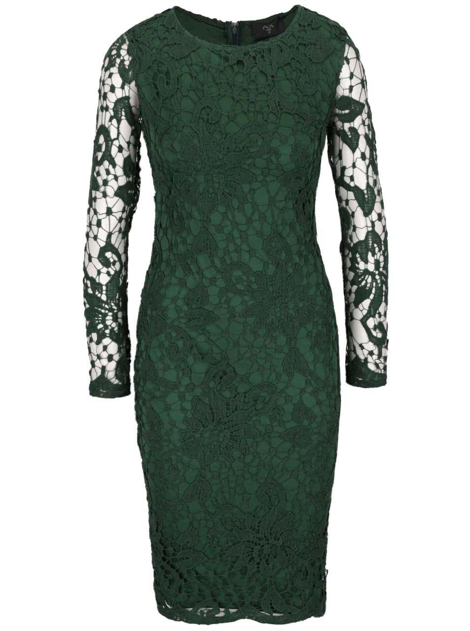 69542779095d Zelené čipkované šaty s dlhým rukávom AX Paris ...