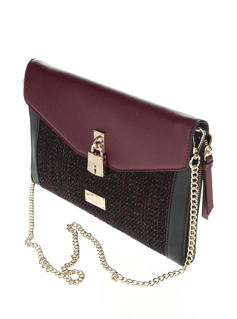 Vínovo-černá menší kabelka psaníčko s detaily ve zlaté barvě LYDC ... 56b5e6c6b19