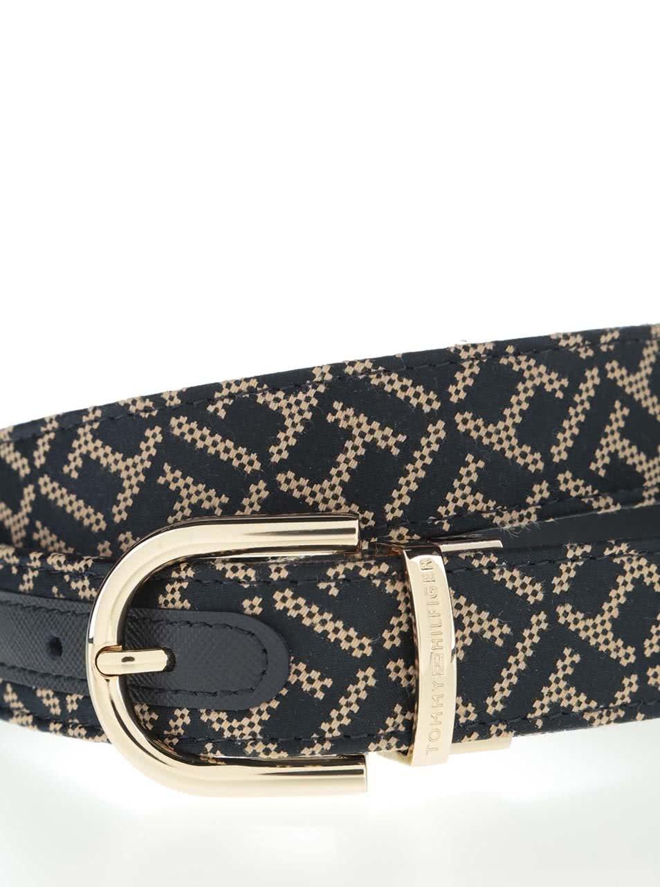 Tmavě modrý dámský pásek s béžovým vzorem Tommy Hilfiger ... d8c7db4326