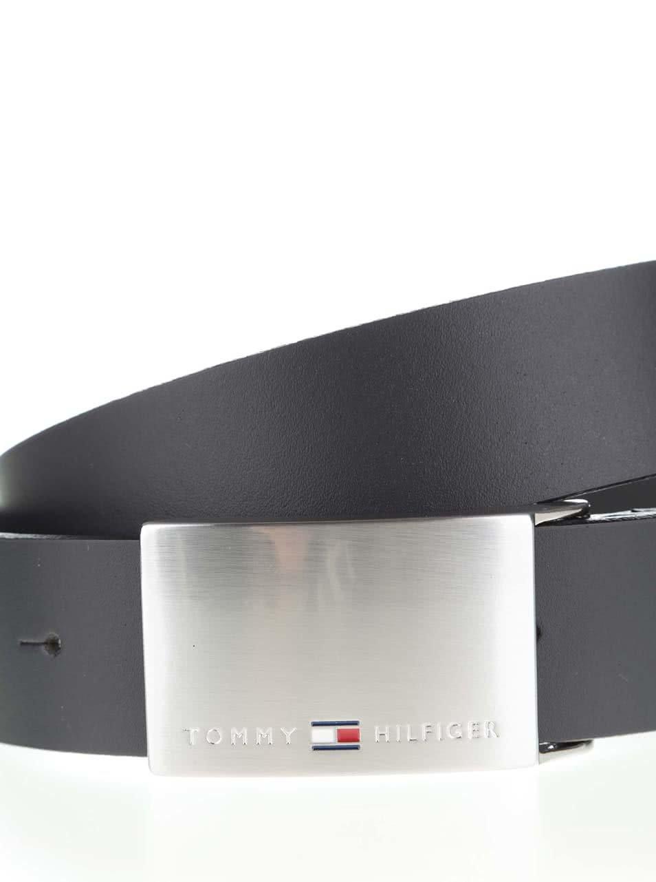 Čierny pánsky kožený opasok s nerezovou sponou Tommy Hilfiger ... a31da1bcabf