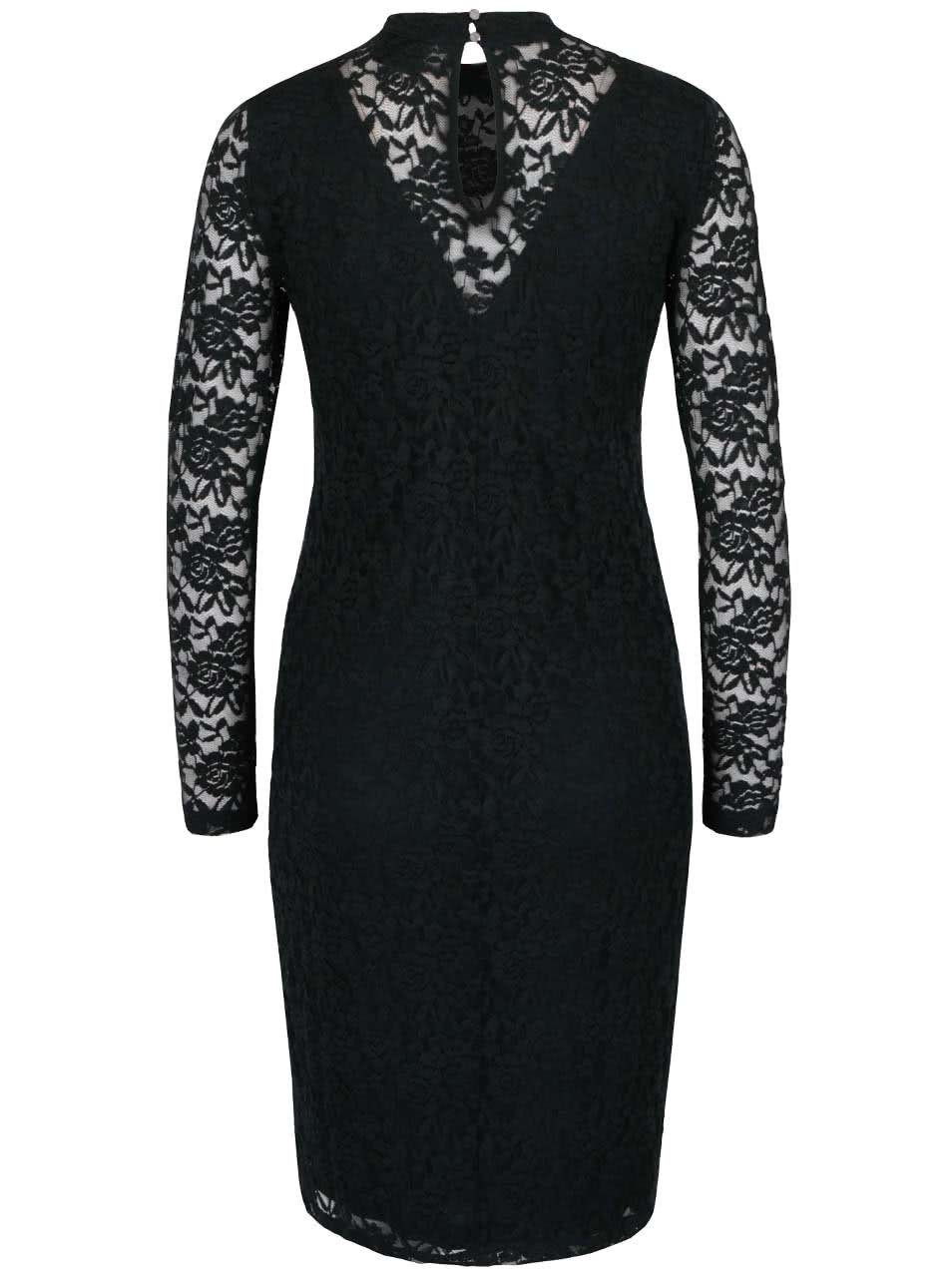 a6c52cb485 Tmavozelené čipkované šaty s dlhým rukávom Polar b.young ...