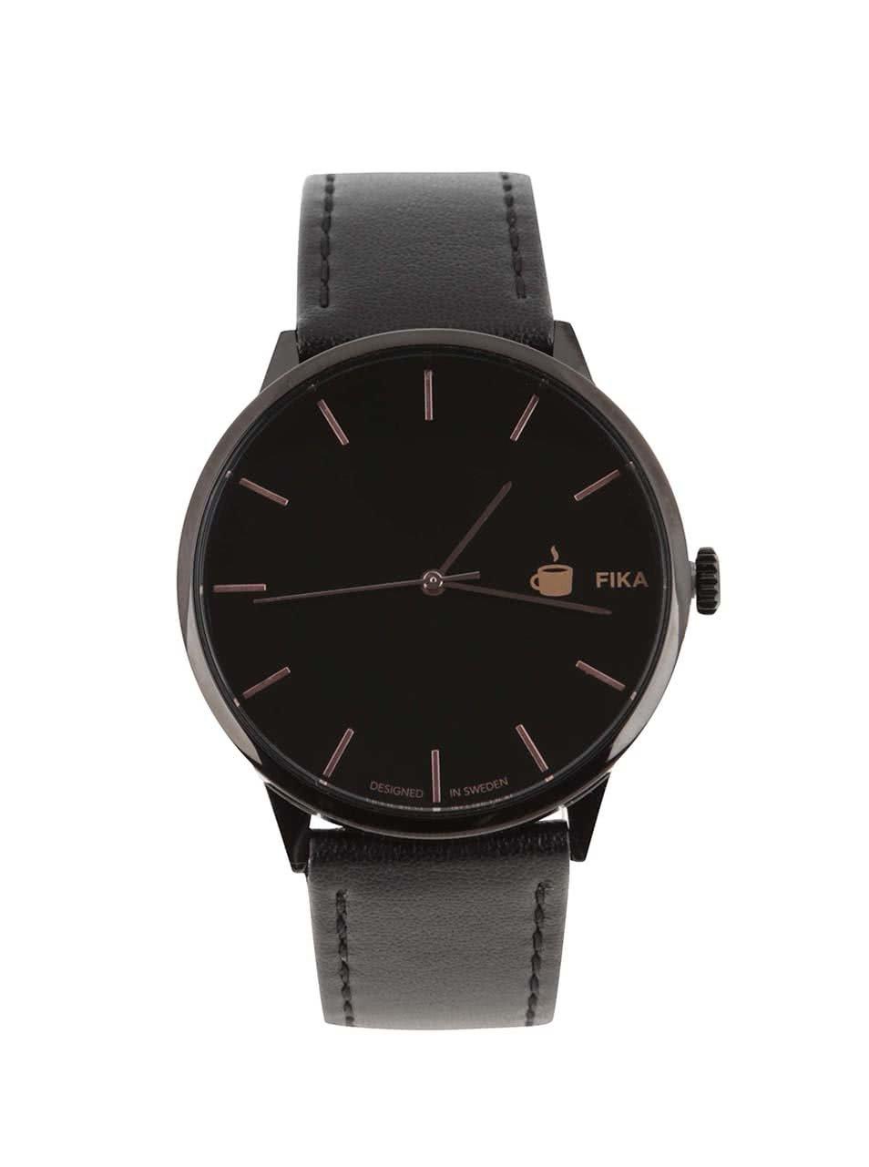 Černé unisex hodinky s páskem z veganské kůže Cheapo Khorshid Fika ... e18a46c030