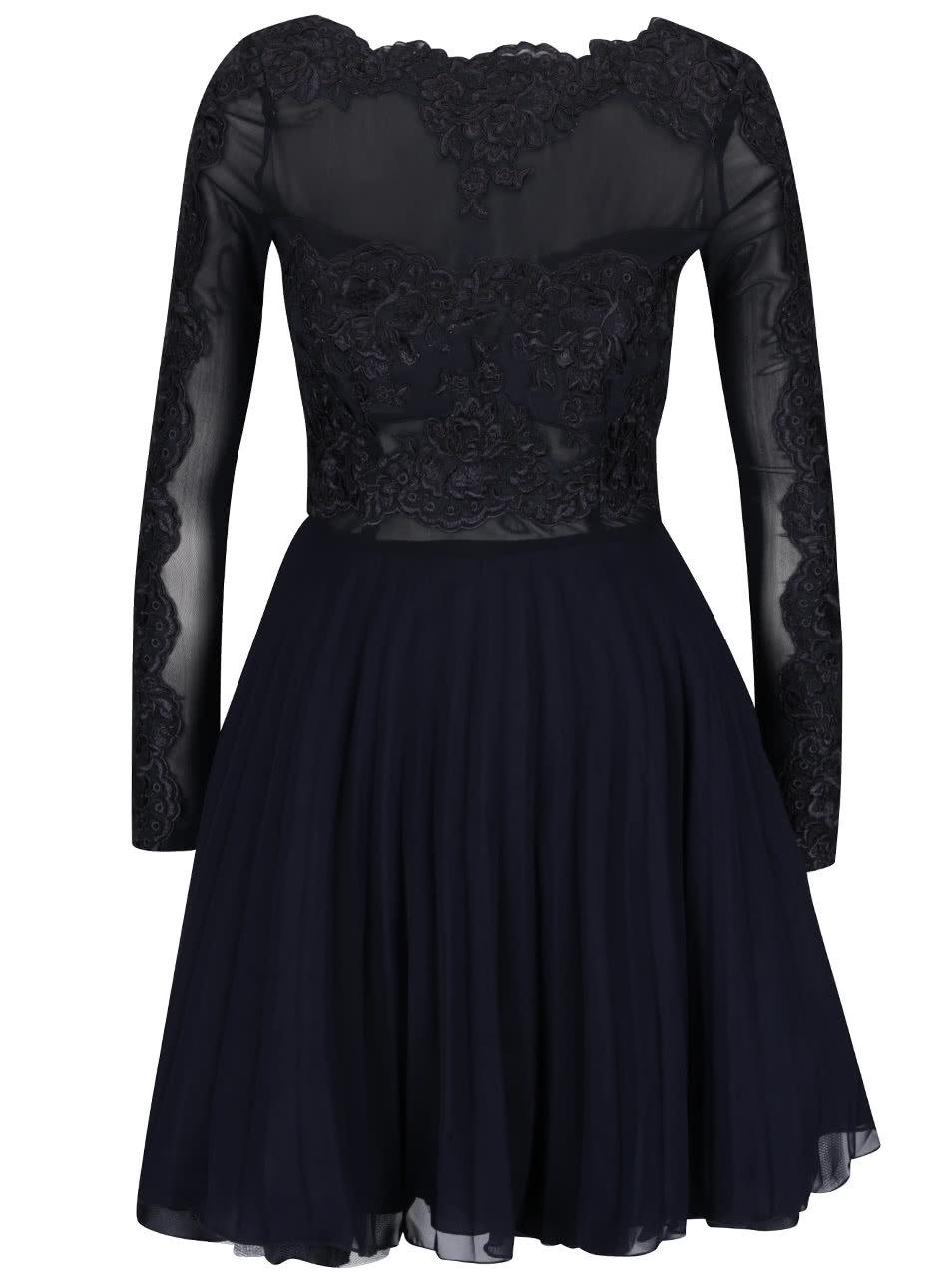 Tmavomodré šaty s čipkou AX Paris ... 2c332fb7324