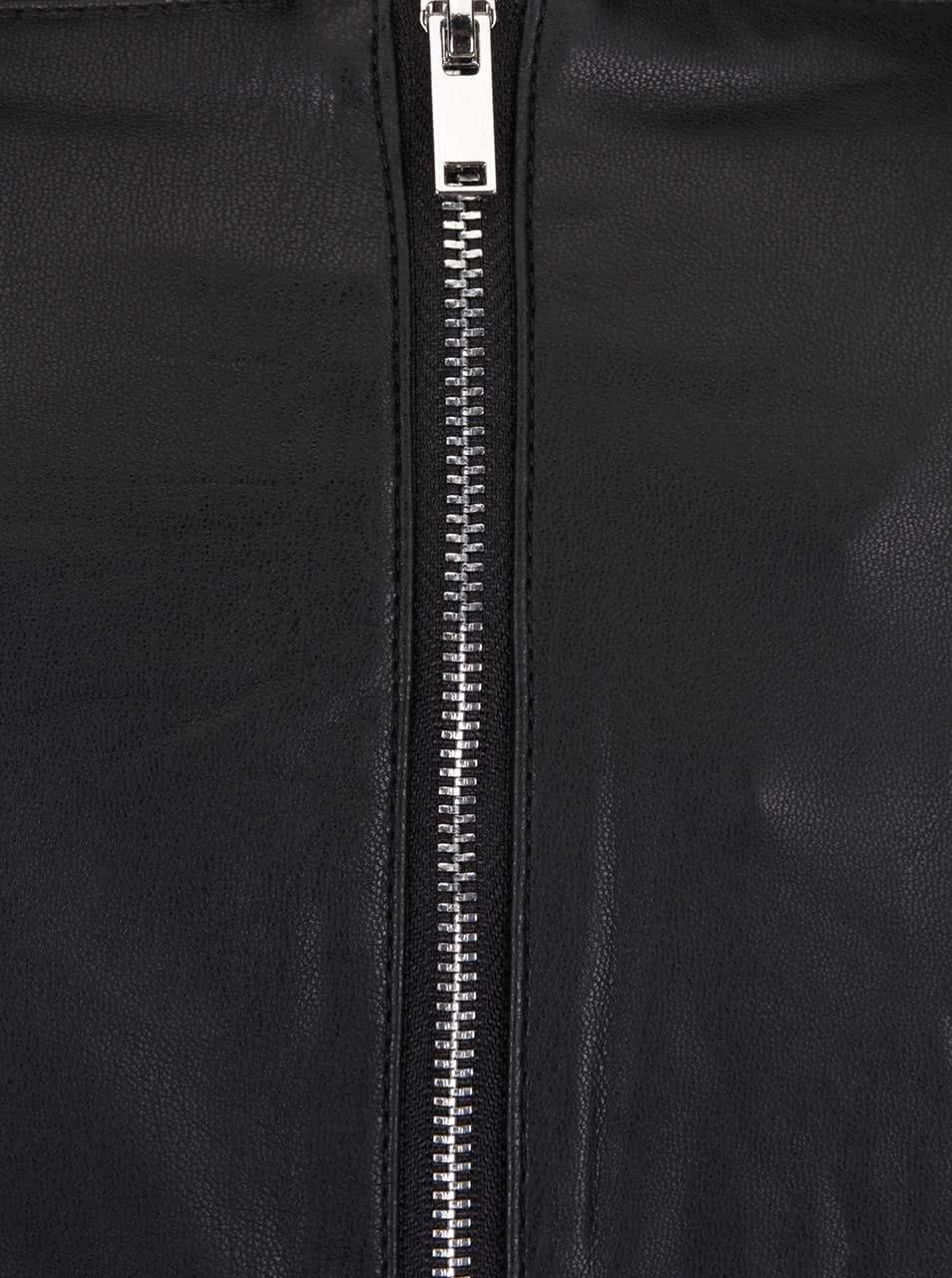 5f80bef6e25 Čierne koženkové šaty s dlhým rukávom VILA ...