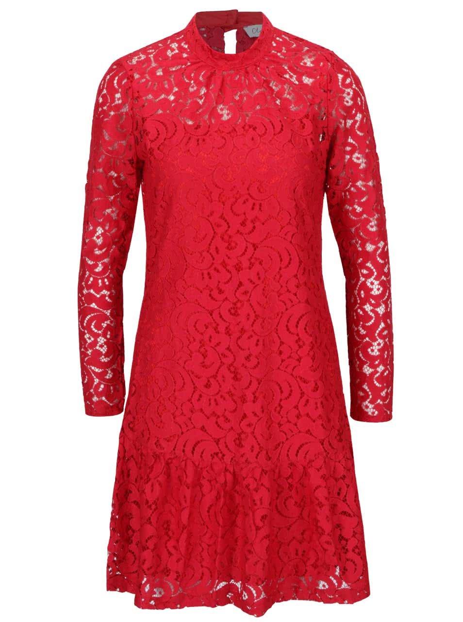 Červené čipkované šaty s dlhým rukávom Closet ... 446c1d572e9