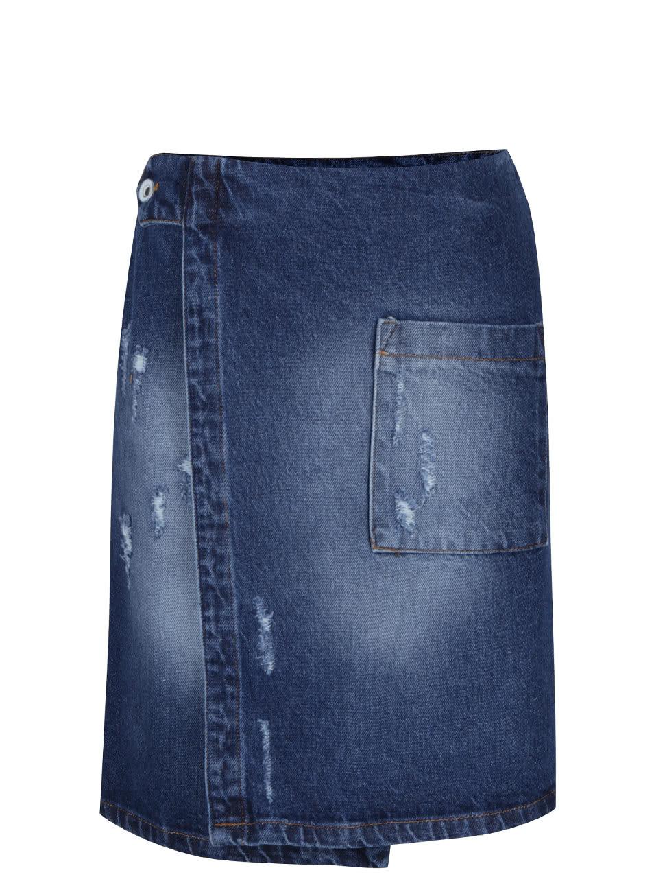 c56b76fdade Modrá džínová zavinovací sukně s kapsou Alchymi Zane ...