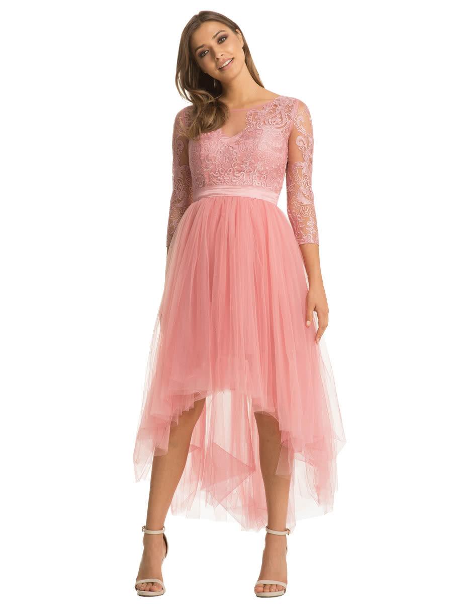 c4ab75ed71dd Ružové šaty s 3 4 rukávom a čipkovaným topom Chi Chi London ...