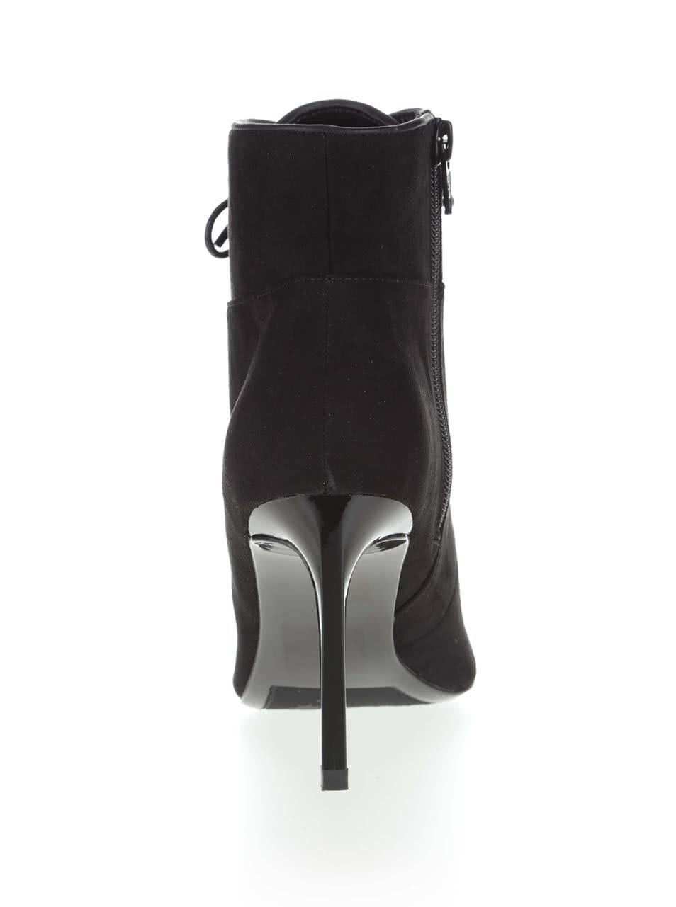 8a17165d990 Černé kotníkové boty na jehlovém podpatku Miss Selfridge ...