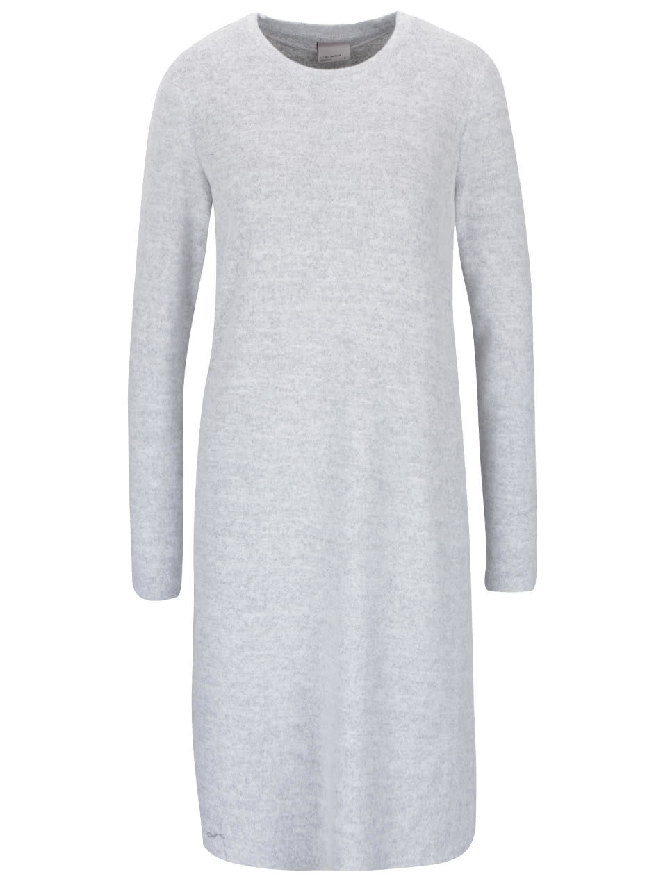 8bbfcab2d1b Světle šedé úpletové šaty s dlouhým rukávem a rozparky VERO MODA Fallon ...