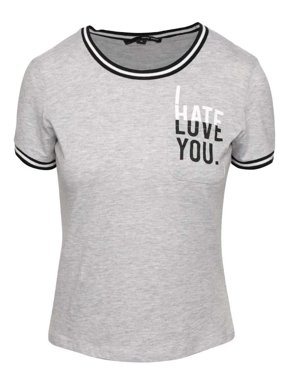 672738f5e814 Sivé tričko s potlačou a vreckom TALLY WEiJL ...