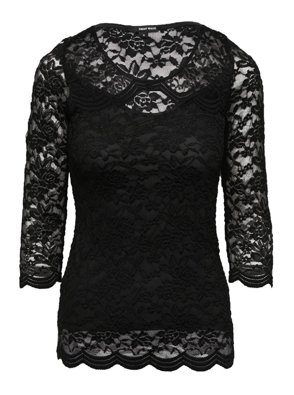 2848a38482 Černé krajkové tričko s 3 4 rukávem TALLY WEiJL ...