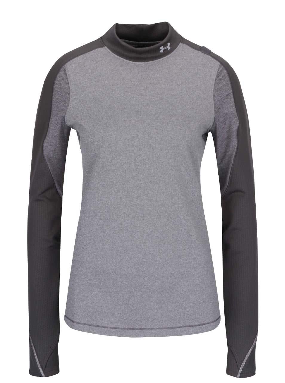 Sivé dámske funkčné tričko s dlhým rukávom Under Armour ColdGear Armour  Elements Mock ... e2761984809