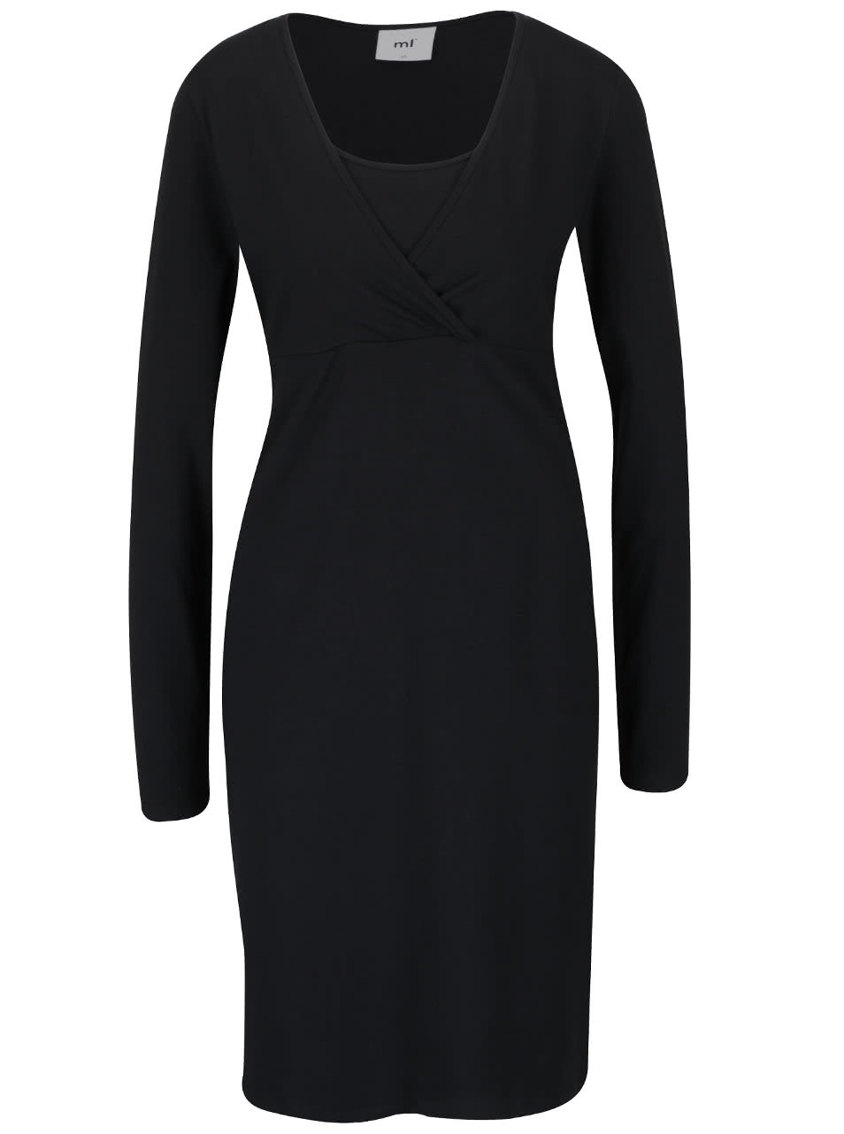 Čierne tehotenské šaty na kojenie s dlhým rukávom Mama.licious Lea ... b55cd25b610