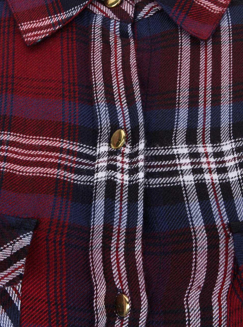 ca0c691fa3be Modro-vínové kárované košeľové šaty s opaskom Dorothy Perkins ...