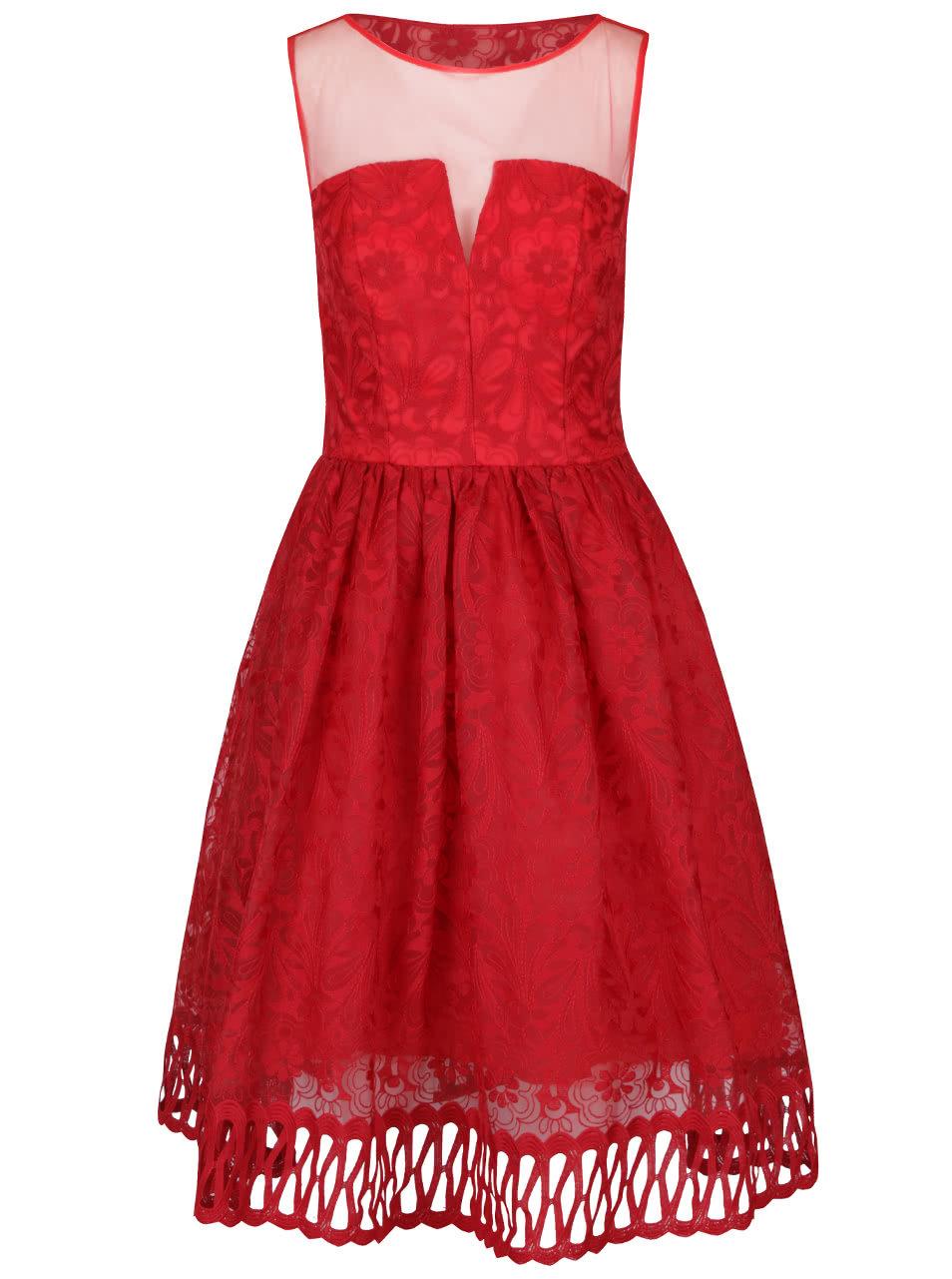 Červené čipkované šaty s priesvitným dekoltom Chi Chi London ... 2429563c330