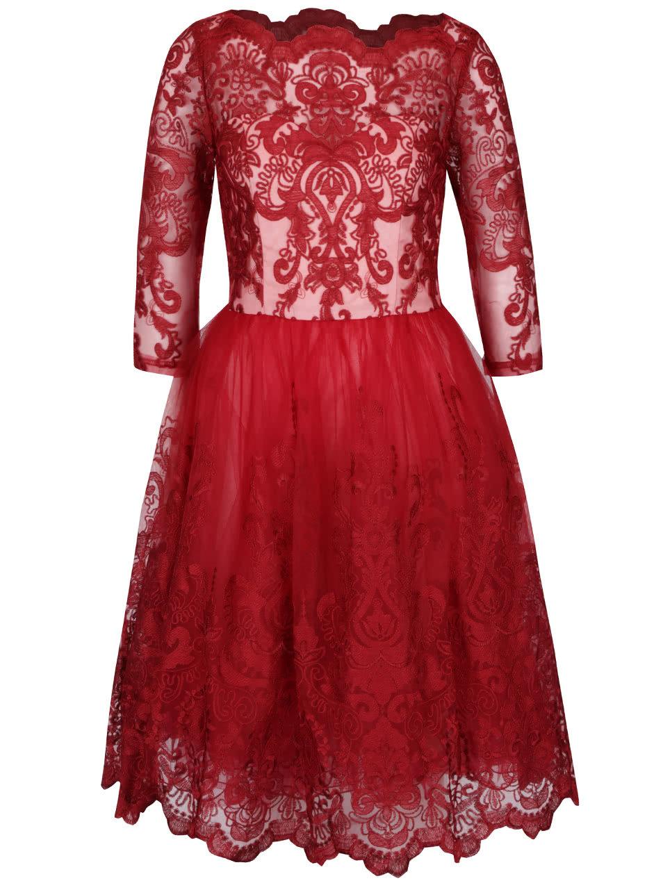 Červené čipkované šaty s bielym živôtikom Chi Chi London ... 0da3eba377d