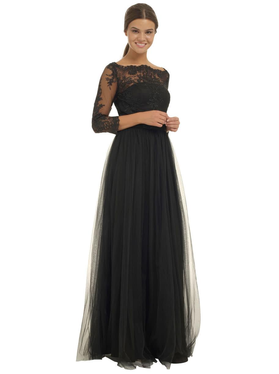 248ea7059e08 Čierne dlhé večerné šaty s čipkovaným topom Chi Chi London ...