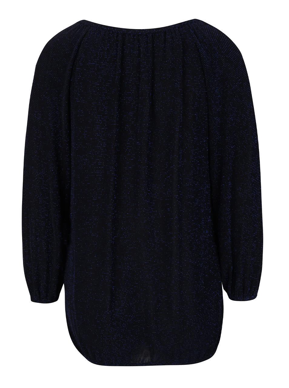 6dc2c1c1804 Černo-modrá třpytivá volnější halenka s 3 4 rukávy Dorothy Perkins ...