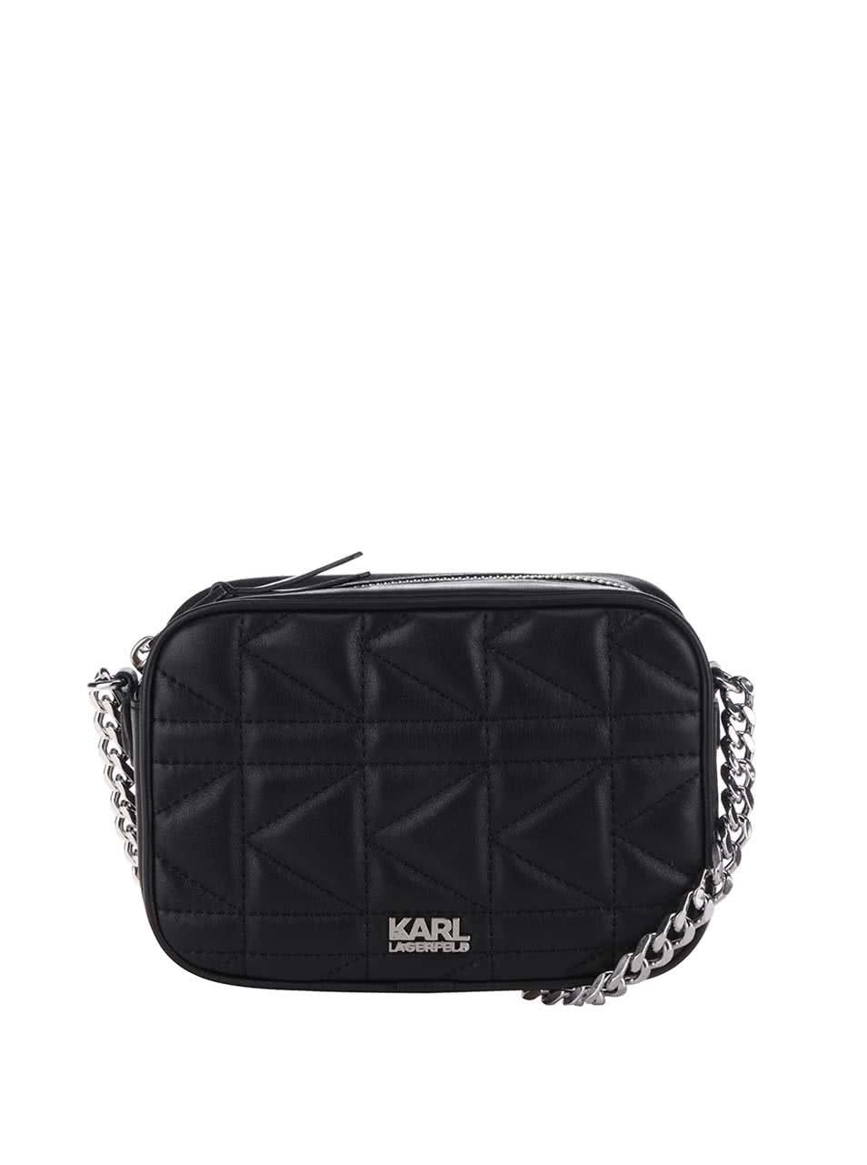 Čierna kožená prešívaná crossbody kabelka s detailmi v striebornej farbe  KARL LAGERFELD ... e0036fbc3d5