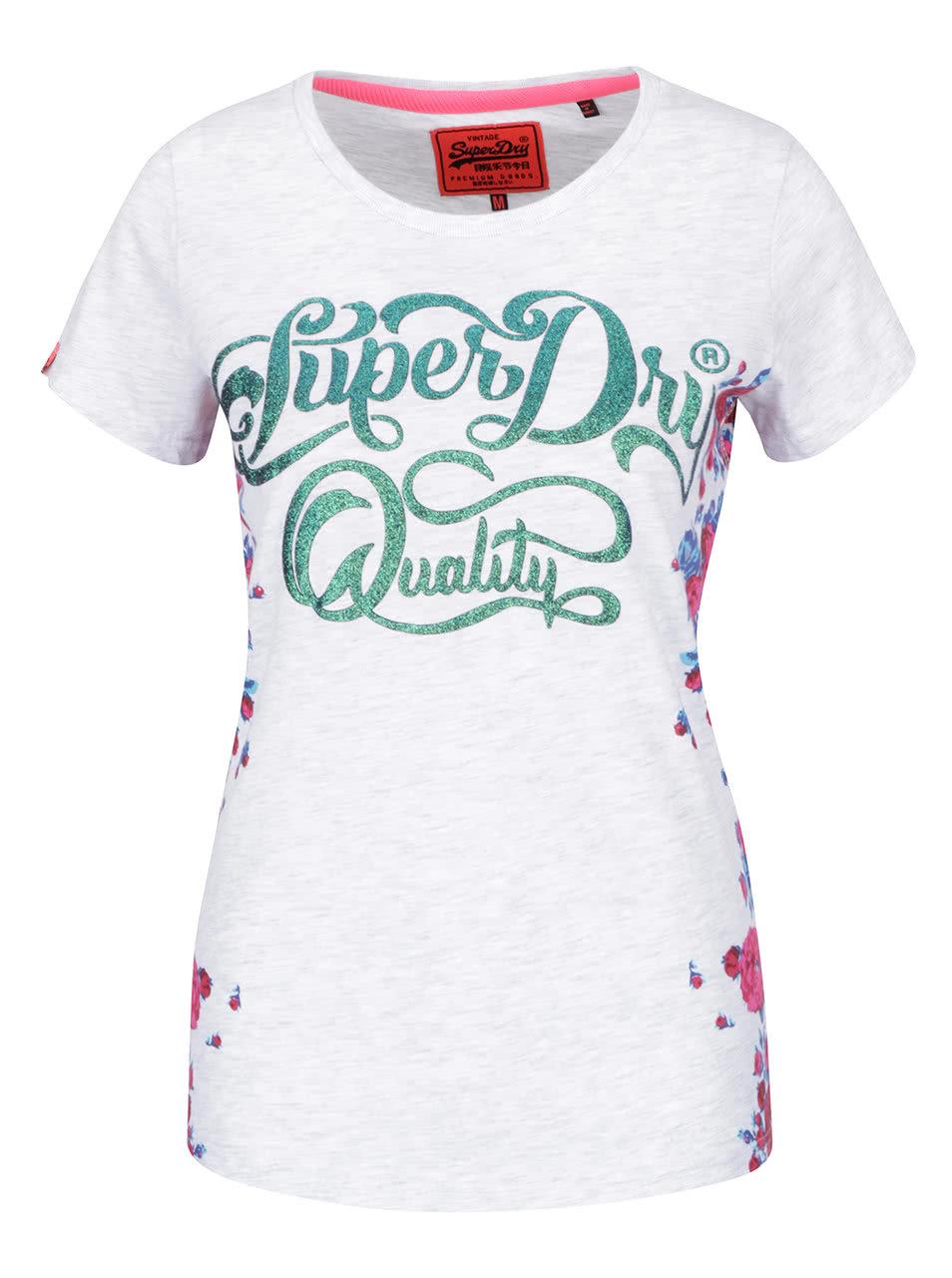 767fd24661d0 Svetlosivé melírované dámske tričko s potlačou Superdry Quality ...