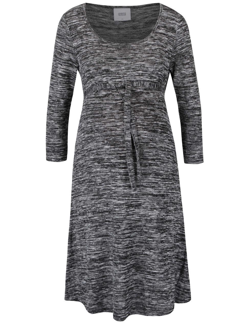 ea850db4bd99 Sivo-čierne melírované tehotenské šaty s 3 4 rukávmi Mama.licious Hino ...