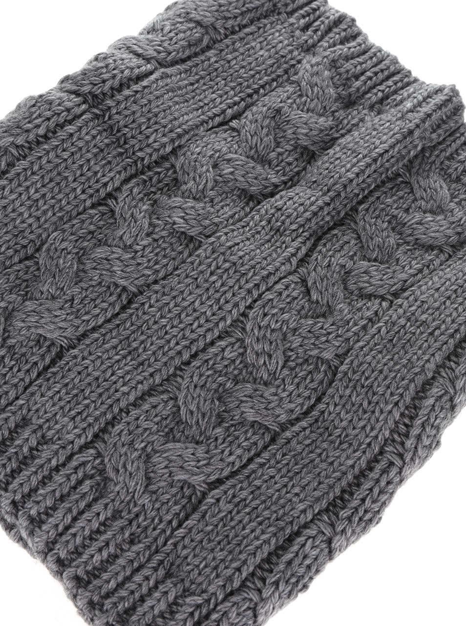 Tmavě šedá holčičí dutá pletená šála 5.10.15.  cc66ce5ebe