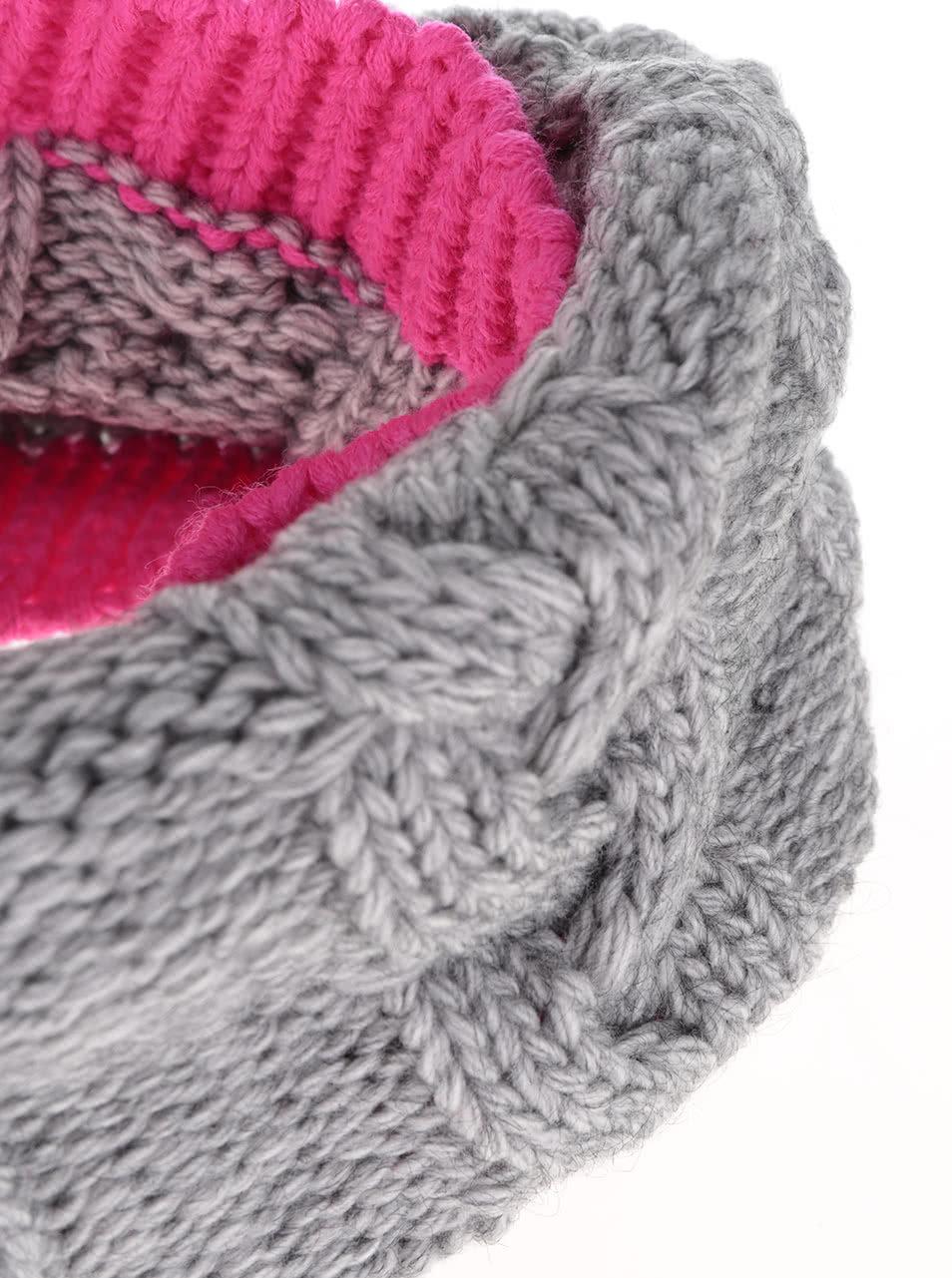 Růžovo-šedá holčičí dutá pletená šála 5.10.15.  feb459999c