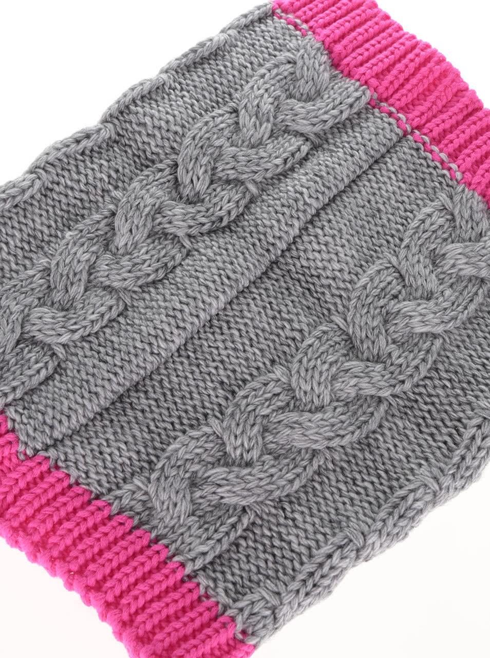 Růžovo-šedá holčičí dutá pletená šála 5.10.15.  1b04f7082c