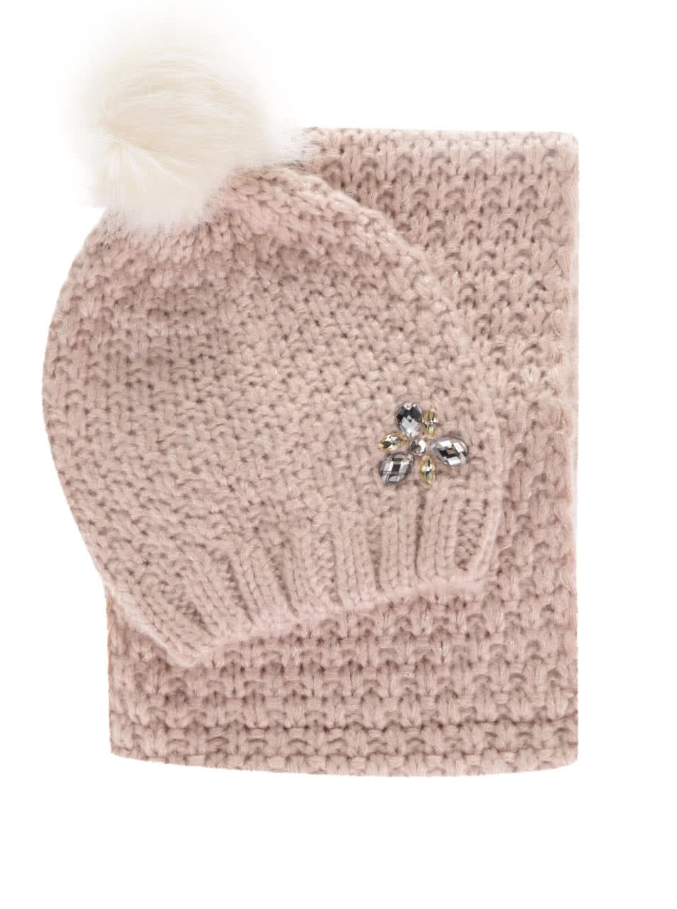 Růžový dámský dárkový set pletené čepice se šálou Something Special ... 27bbf9f0fb